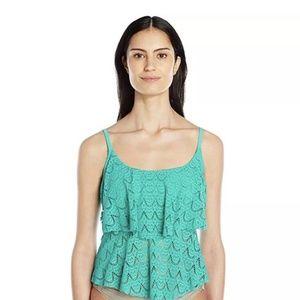 Ocean Avenue Crochet Tiered Tankini, M